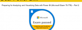 Microsoft exam passed badge for exam 70-778 analyzing and visualizing data with Power BI